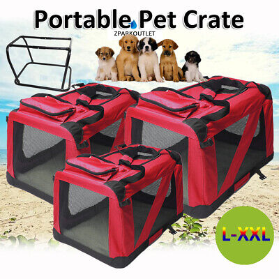 Fabric Soft Pet Crate Cat Dog Cage Carrier House Kennel Foldable Comfortable UK