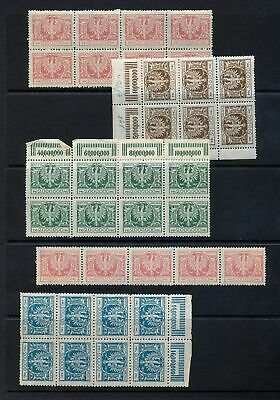 POLAND 1924 Eagle Blocks MNH (Apx 30+Stamps) (St134