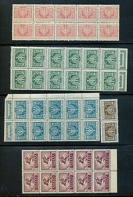 POLAND 1919/1924 Eagle Blocks MNH (Apx 40Stamps) (St135