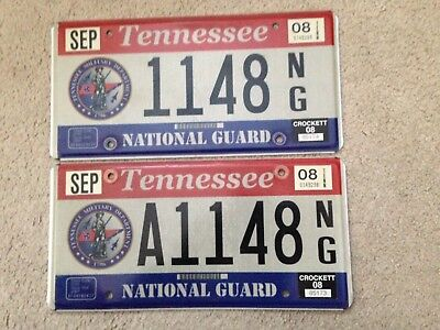2008 Tennessee License Plate Same Number Crockett County Guard Pair