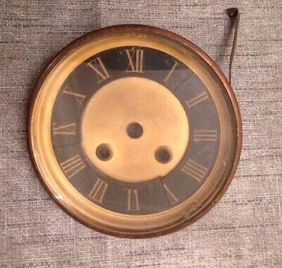 "Antique Wall Clock Brass Bezel And Glass 131mm"" Diameter"