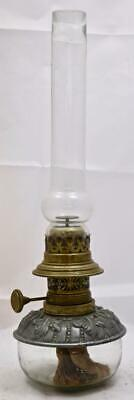 Nice Inscribed Antique Glass Silvered & Brass Oil Lamp Ebossed Patterns R.Ditmar