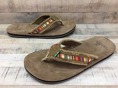 af57cf94568 Sanuk Fraid So Soft Suede Footbed Flip Flops Sandals Men s Size 11  ~Excellent~