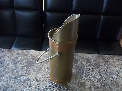Arts And Crafts Copper And Brass Taper Holder And Scuttle