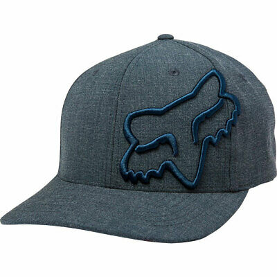 Fox Racing Men's Clouded Flexfit Hat Navy Blue Headwear Apparel Sports Baseball