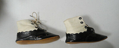 Vintage Antique Baby / Child / Doll Shoes - High Top Leather Black & White 4493
