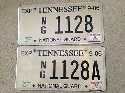 2006 Crockett County Tennessee Guard NG License Plate Pair Same Number