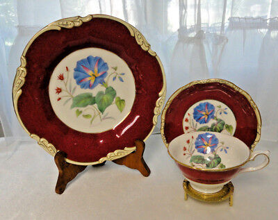 Vtg. CRESCENT Bone China TEA CUP & SAUCER & Cake Plate TRIO Hand Painted SIMMILL