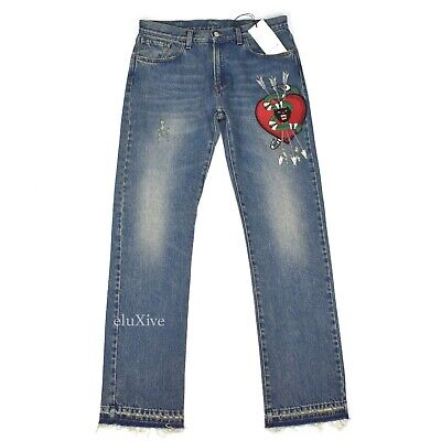 340a15a6f34 NWT  1.1k GUCCI Men s Distressed Denim Snake Heart Panther Patch Jeans  AUTHENTIC