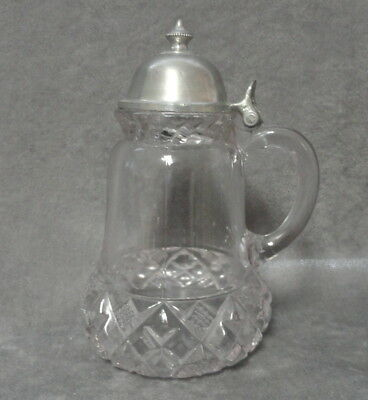 Antique 1890s EAPG Clear Pressed Glass BLOCK BAND DIAMOND SYRUP  Diamond Square