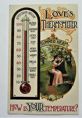 COUPLE Summer Heat 'Love's THERMOMETER' How's YOUR Temperature?  Postcard