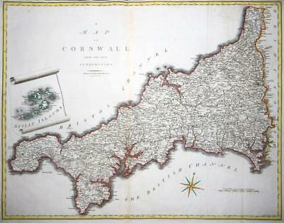 1805 Original Large Antique Map - CORNWALL SCILLY John Cary hand coloured (LM8)