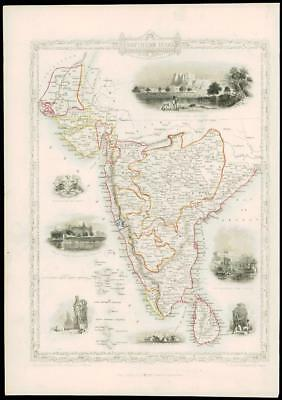 1850 - Original Illustrated Antique Map SOUTHERN INDIA & CEYLON by Tallis (d126)