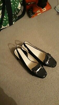 Black Patent Mod/60s Style Buckle Shoes size 6 (wider fit)