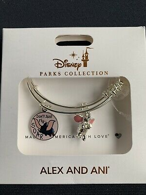 NEW Disney Parks ALEX AND ANI Dumbo Don't Just Fly Soar Silver Bracelet Set