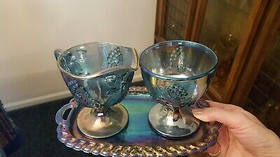 Vtg Blue Carnival Glass, HARVEST GRAPE Creamer,Sugar Bowl, and Tray. 3 pieces