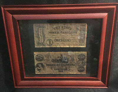 Confederate Currency (2 one dollar bills framed, Louisiana and Florida)