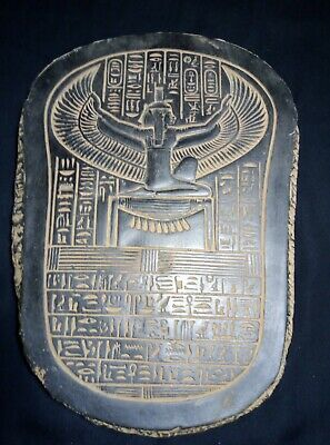 RARE ANCIENT EGYPTIAN ANTIQUE Stela Goddess Isis Winged Stone 1758-1458 Bc