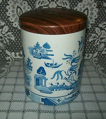 VINTAGE BLUE WILLOW 'TWINNINGS TEA' TIN CANNISTER (6MB made in Great Britain)