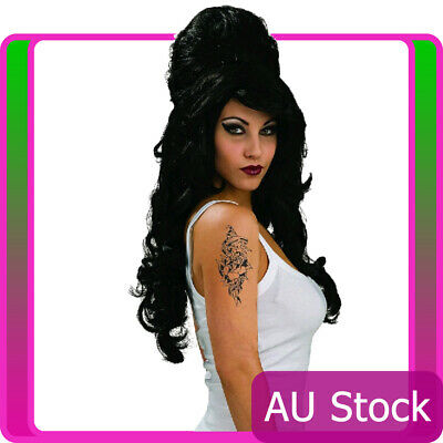 Womens Rehab Amy Winehouse Wig Black 60s 1960s Wigs Ladies Costume Accessory