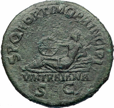 TRAJAN builds ROAD VIA TRAIANA Authentic Ancient 104AD Rome Roman Coin i73532