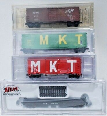 Mixed Set of 4 x N Scale Freight Cars - M-K-T.