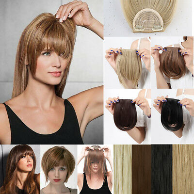 Real Natural Soft as Human Clip in Hair Extensions Neat Fringe Side Bangs AI5