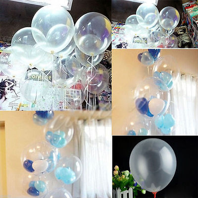 "10 pcs Wedding Latex Transparent 10"" Balloons Birthday Decor Hot Nice Party j"