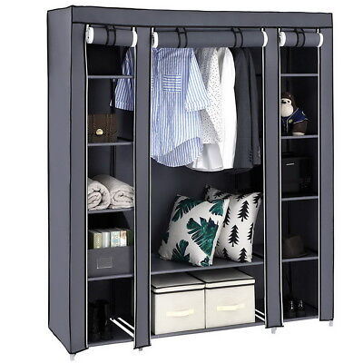 LARGE CAPACITY PORTABLE Closet Wardrobe Bedroom Clothes Rack ...