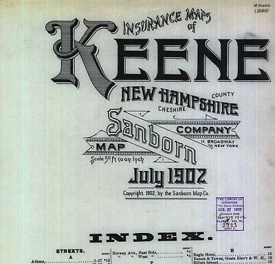 Keene, New Hampshire~Sanborn Map© sheets~30 maps full color made in 1897 & 1902
