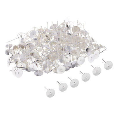 200x Blank Earrings Pin Post Stud with Flat Pad for Jewelry Making Silver