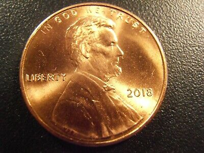 2018 P Lincoln Cent BU, One new RED coin from a bank roll, , FREE SHIPPING