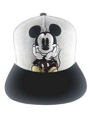 hot sale online 74074 ea4dd Disney Mickey Mouse Gray Embroidered Snapback Ball Cap Hat New