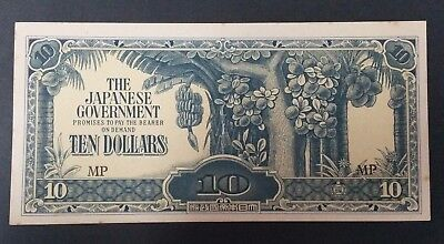 The Japanese Government Ten Dollars WWII Banknotes Invasion Money - Uncirculated