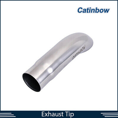 "2/"" ID Weld-on Polished Turn Down Exhaust Tips 2 Inlet 9/"" Long STAINLESS STEEL"