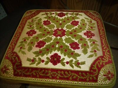 VINTAGE Footstool Embroidered Gypsy Floral Red Green White Wood Feet BOHO Decor
