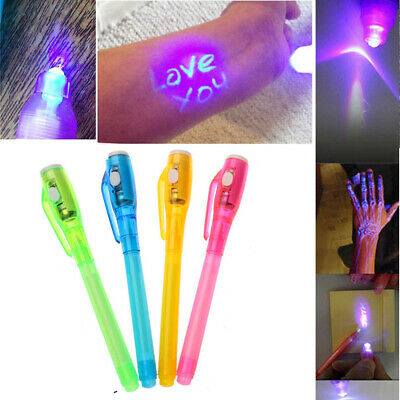 Drawing Combo Purple Invisible Ink Pen Painting Marker UV Light 2 In 1