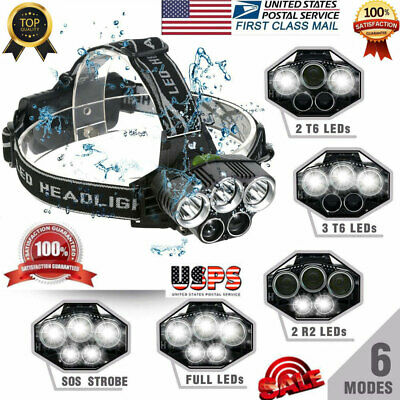 US 90000LM T6 LED Headlamp Headlight Torch Rechargeable Flashlight Super-bright9