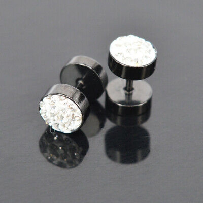 Barbell Men's New 2Pcs Stainless Steel Earrings Fashion Ear Studs Charms Punk j