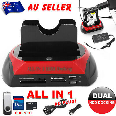 "All in 1 Dual 2.5""/3.5"" IDE SATA HDD Hard Drive Disk Docking Station USB Dock AU"
