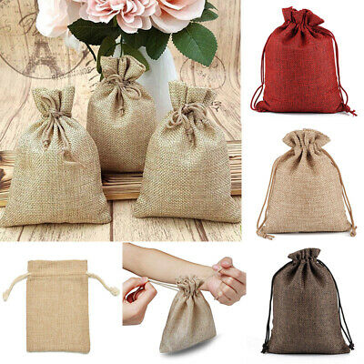 5-50pc Small Burlap Jute Hessian Wedding Favor Pack Gift Bags Drawstring Pouches