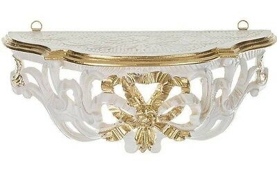 Wall Console Mirror Table Baroque Antique White Gold Rococo 31cm Flower Bench