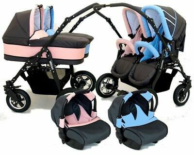 New Baby Pushchair Pram Freestyle  Twin Double Sport Travel System 2x Car Seat
