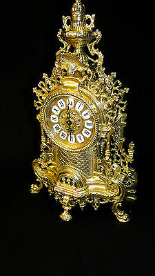 Fireplace Clock Brass Table Clock Antique Baroque Gold 42CM Solid New 1082103