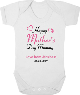 HAPPY MOTHERS DAY MUMMY New Baby Bodysuit/Grow/Vest/Romper, Gift, PERSONALISED