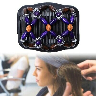 Women Magic Hair Comb Clip Double Slide Butterfly Bead Elastic Hairpin Hair Prop