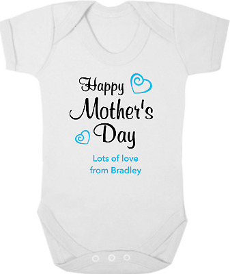 HAPPY MOTHERS DAY New Baby Bodysuit/Grow/Vest/Romper, Gift/Present, PERSONALISED