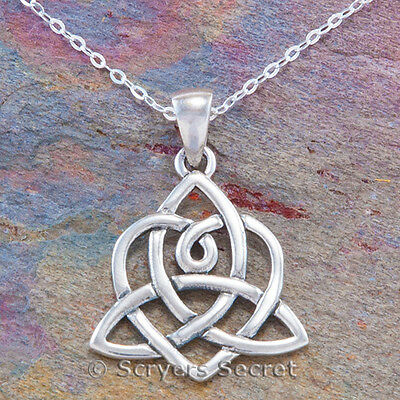 Celtic TRIQUETRA Necklace Irish Trinity Knot HEART Pendant 925 Sterling Silver