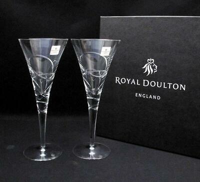 "Pair Quality Royal Doulton Crystal ""saturn"" Wine Goblets Glasses Signed Boxed"