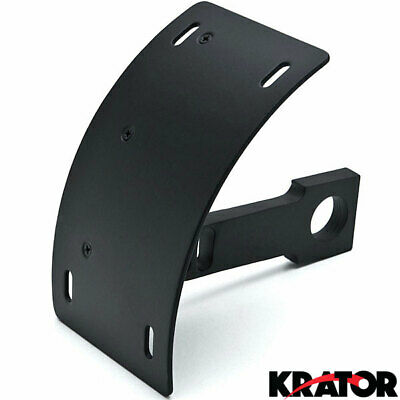 Black Curved Tag Relocator Vertical License Plate Holder Motorcycle Sportbike